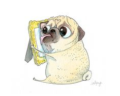 You have to have a pug to really get this one! I Miss You Pug Card Cute Sad Pug… Pug Meme, Animals And Pets, Cute Animals, I Miss You Card, Pug Cartoon, Carlin, Pugs And Kisses, Pug Art, Funny Pugs