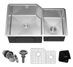 Buy the Kraus Stainless Steel Direct. Shop for the Kraus Stainless Steel Undermount Double Bowl 16 Gauge Stainless Steel Kitchen Sink and save. Double Bowl Kitchen Sink, Kitchen Sinks, Kitchen Remodel, Kitchen Reno, Kitchen Ideas, Kitchen Design, Professional Kitchen, Stainless Steel Appliances