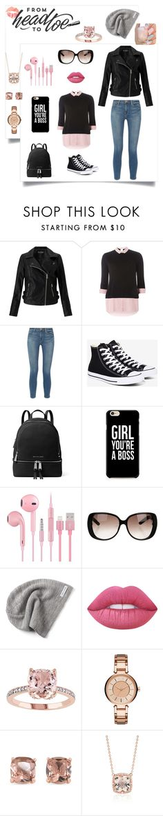 """""""Beautiful from head to toe"""" by magic-mia ❤ liked on Polyvore featuring Miss Selfridge, Dorothy Perkins, Frame, Converse, MICHAEL Michael Kors, Gucci, Lime Crime, Armani Exchange, Carolee and Blue Nile"""