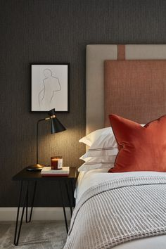 We used tones of charcoal and taupe with layered texture and accents of saffron orange for this London bedroom Orange Accents Bedroom, Bedroom Red, Modern Bedroom Design, Luxurious Bedrooms, Bedroom Orange, London Bedroom, Hotel Room Design, Hotel Room Design Bedrooms, Interior Design Living Room
