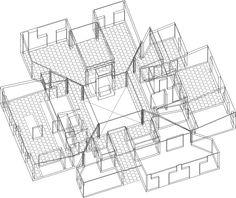 Axon drawing. Unbuilt Goldenberg House. Louis Kahn. 1959. Rydal, Pennsylvania