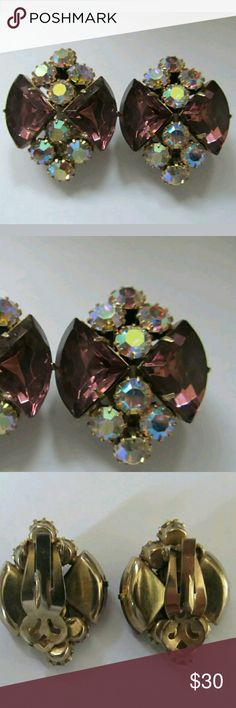 VINTAGE STUNNING JULIANA LARGE PURPLE AMETHYST VINTAGE STUNNING JULIANA  LARGE PURPLE AMETHYST TRILLION CUT & AB RHINESTONE CLIP ON EARRINGS.  VERY NICE PREOWNED VINTAGE CONDITION . THESE WERE MY GREAT GRANDMOTHER'S 1940S ERA NO TRADES OR TRY ON GORGEOUS! Vintage Jewelry Earrings