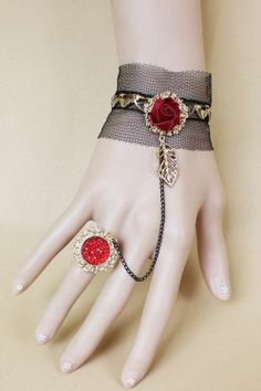 Emo Punk Mesh Hearts Leaf Rose Slave Bracelet & Ring SEXY Gothic Costume Jewelry #Jewelry #Deal #Fashion