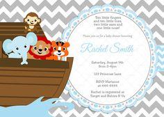 Blue and Grey Chevron Noah's Ark Baby by CuddleBugInvitations, $10.00