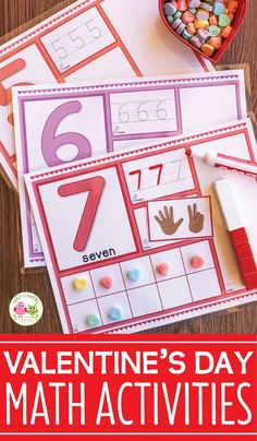 Valentines Day math activity for preschool, pre-k, and kindergarten. This hands-on math activity is great for math centers, math work stations, and math tubs for your Valentine's Day and February themes and lesson plans. Use with play dough, conversation hears, and unifix cubes. Kids can learn counting, number recognition, subitizing, and composing and decomposing numbers.