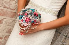 Blue Petyl Bride and her Cascading Brooch Bouquet:) #wedding #bouquet