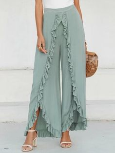 To find out about the Simplee Slit Hem Ruffle Trim Wide Leg Pants at SHEIN, part of our latest Pants ready to shop online today! Trouser Pants, Wide Leg Trousers, Harem Pants, Fashion Pants, Fashion Outfits, Stylish Outfits, Split Pants, Modelos Fashion, Ruffle Pants