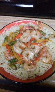 Shrimp scampi over angel hair pasta yummy