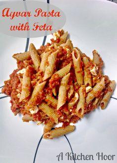 Meatless Monday Ayvar Pasta with Feta via @bestblogrecipes