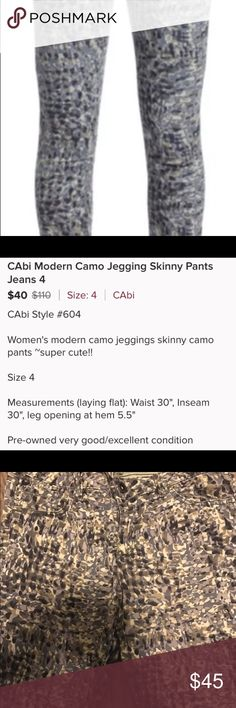 Cabi #604 Modern Camo Jeggings Jeans 4 Gently worn, please see photos for a description.  Cleaning out my closet.  Bundle to save. CAbi Pants Skinny