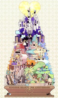 Kingdom Hearts, 10th Anniversary mega illustration makes me happy c: it's tough to see all the tiny characters though but well done