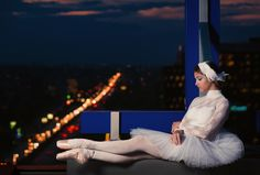 Night ballerina - Ballerina on the roof in the night