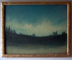 Early 20th century landscape oil painting with a wonderfully primitive, abstract look.