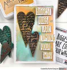 Stamping into texture paste with Viva Decor Ferro Texture Paste. Sentiment is the Darkroom Door Biggest Hugs Small Stamp. Card by Rachel Greig. Virtual Hug, Texture Paste, Foam Adhesive, I Card, Stamp Card, Big Hugs, Distress Ink, Great Friends, Hand Stamped