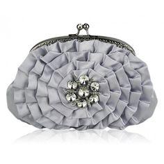 Silver Floral Crystal Sparkling Bridal Party Evening Clutch Bag #clutch #handbag #eveningbag