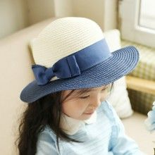 Sweet bow straw hat for kids summer sun protection hat