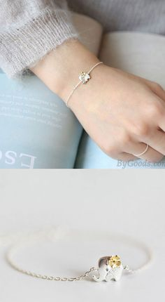 Pulsera de elefante lindo de plata amarilla flor fresca #elephant #Bracelet Elephant Jewelry, Elephant Bracelet, Fashion Bracelets, Jewelry Bracelets, Couple Bracelets, Friendship Bracelets, Jewerly, Women Accessories, Diamond