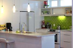love the apple green subway tile backsplash!  kitchen / Hive Modular B-Line Medium 004 / Yellowknife, NT