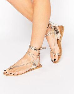 Lace Up Metallic Leg Wrap Thong Self Tie Flat Gladiator