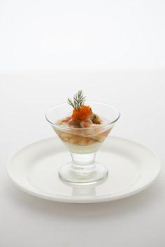 小海老のマリネ生姜とコリアンダー風味 カリフラワーのピューレを添えて(コースメニューB)
