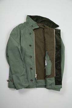 Olive NyCo Ripstop Deck Jacket by Engineered Garments available at The Bureau Belfast.