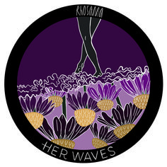 Patch design for HERWAVES US brand. Flowers, surfing, femininity Patch Design, Femininity, Surfing, Patches, Illustration, Flowers, Illustrations, Surfs Up, Royal Icing Flowers