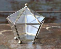 Vintage Geometric Brass Glass Trinket Curio Display Jewelry Box