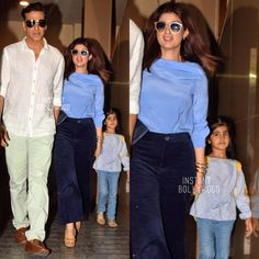Akshay & Twinkle with daughter Nitara post a sunday movie outing