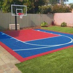 Small Court DIY Backyard Basketball System – Sam's Club – Modern Design - Modern Small Backyard Landscaping, Backyard Patio, Landscaping Ideas, Sloped Backyard, Mulch Landscaping, Large Backyard, Cool Backyard Ideas, Landscaping Equipment, Patio Ideas