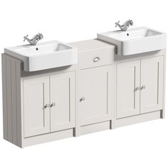 The Bath Co. Dulwich stone ivory floorstanding double vanity unit and basin with storage combination