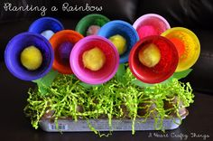 DIY Planting a Rainbow garden using fruit cups, pompoms, popsicle sticks and egg carton. Summer Crafts For Kids, Spring Crafts, Art For Kids, Planting A Rainbow, Rainbow Garden, Cup Crafts, Craft Stick Crafts, Craft Ideas, Bottle Crafts