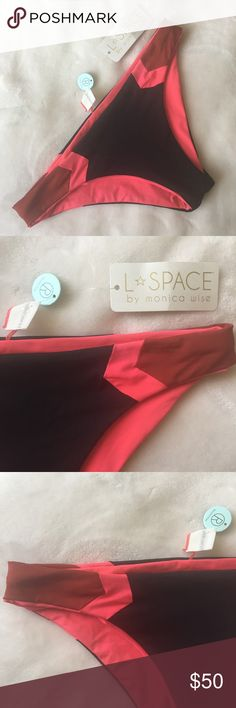 ❤️NWT❤️ L*Space Haley Reversible Barracuda Bikini **NWT** L*Space Haley Reversible Barracuda Bikini Bottom - Small - Colors: Black, pink & Red - Materials: 80% nylon & 20% spandex - Beautiful Reversible Bikini Bottom with solid pink on one side and Color Blocked on the other - Lowrise hipster - Cute sporty look - Show those cheeks!  You'll love it on with its seamless edges ⭐️ Comment me if you have any questions and send me your bundle for a special discount 🥂 l*space Swim Bikinis