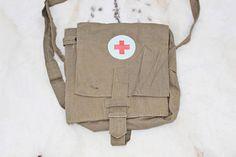 Red cross bag Messenger bag Soviet vintage army medical bag Soviet field bag Gift for nurse Gift for doctor