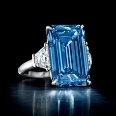 """'The Oppenheimer Blue Diamond Ring"""" - The highlight of Christie's upcoming Geneva sale in 2016 is a 14.62 carat Fancy Vivid blue diamond that boasts a perfect hue."""