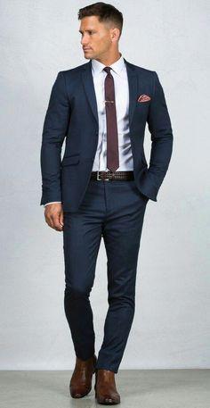 Blue Suit: 20 Photos of Inspiration – Men's Fashion & Co. Stylish Men, Men Casual, Casual Wear, Casual Suit, Terno Slim, Blue Suit Men, Man In Suit, Suit For Men, Suit Styles For Men