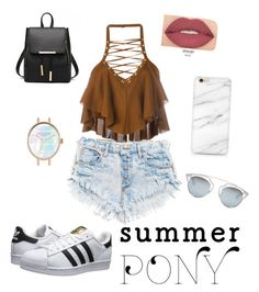"""Summer in California ☀️"" by smartpaws ❤ liked on Polyvore featuring Balmain, adidas Originals, Smashbox, Christian Dior, hairtrend, 60secondstyle and summerpony"