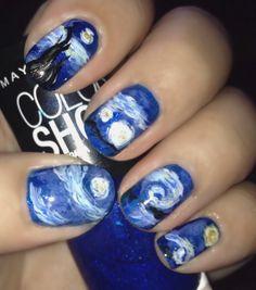 Starry night nail art