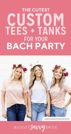 bachelorette party tees Girls Weekend, Bridesmaid Gifts, Bridal, Tees, Cute, Bridesmaid Presents, T Shirts, Kawaii, Bride