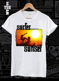 Surfer sunset surfing print on white black or gray by DreamTee