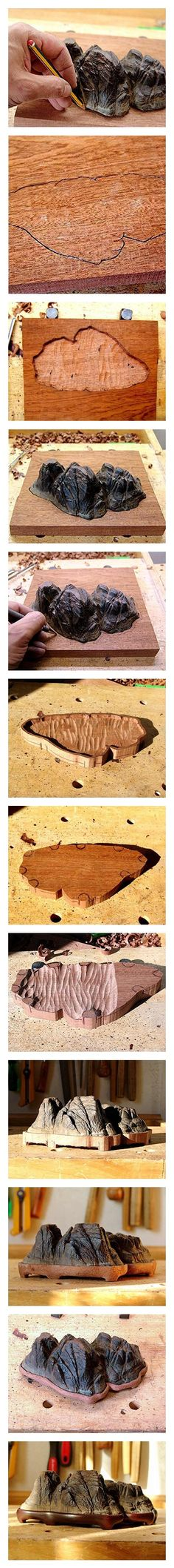 Cómo construir una daiza (base de madera tallada para suiseki)