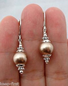 new handmade brown sea South Sea Shell Pearl 925 silver Drop/Dangle Earrings