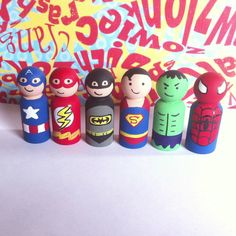 6 wooden pegs - $30 - Free shipping - I can choose any super hero peg doll I want. I like Batman, Captain America, Flash, Superman, Spider-man, but Hulk is my favorite.