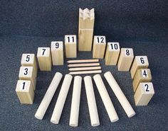 "Kubb -  a Swedish lawn game, also called ""viking chess"""
