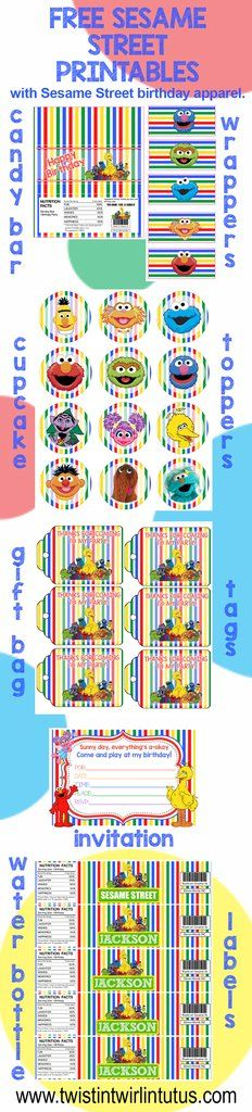 Sesame Street Birthday Party Printables| Sesame Street Birthday Party Ideas | Twistin Twirlin Tutus www.twistintwirlintutus.com Sesame Street Cupcakes, Sesame Street Party, Sesame Street Birthday, Elmo First Birthday, Birthday Box, Birthday Parties, Candy Bar Labels, Candy Bar Wrappers, Sesame Street Invitations