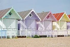 Photo about Shot of some pretty pastel beach huts on the beach. Image of colourful, beach, sand - 5068990 Cottages By The Sea, Beach Cottages, Pastel Colors, Pastels, Colours, Boutiques, Surf, Seaside Beach, Pretty Beach
