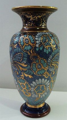 Royal Doulton Slater Blue Vase. c1902-14. 27.5cm Tall - Artmosphere Antiques Battlesbridge Essex