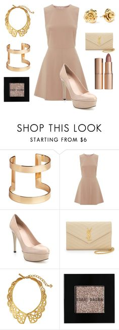 """""""Dinner party"""" by ikawi ❤ liked on Polyvore featuring H&M, RED Valentino, Stuart Weitzman, Yves Saint Laurent, Oscar de la Renta, Marc by Marc Jacobs, Bobbi Brown Cosmetics and Charlotte Tilbury"""