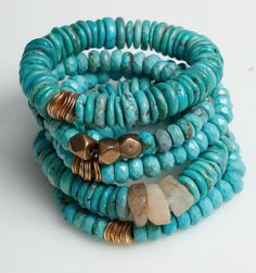 Sisco Berluti Essentials Bracelet in Turquoise ~ Boho Beach Shades Of Turquoise, Coral Turquoise, Turquoise Jewelry, Boho Jewelry, Turquoise Bracelet, Beaded Jewelry, Aqua, Jewelry Bracelets, Jewelry Accessories