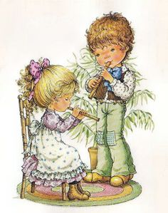 Sweetkids Mary May, Art Watercolor, Cute Clipart, Holly Hobbie, Art Design, Cute Illustration, Vintage Cards, Vintage Children, Vintage Postcards