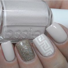 Love this neutral accent manicure by @carlysisoka using our Greek Nail Art Vinyls found at snailvinyls.com